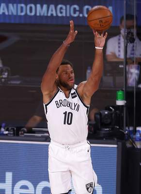 Associated Press  Justin Anderson shoots for the Brooklyn Nets against the Orlando Magic on Aug. 11, 2020, in Lake Buena Vista, Fla. His rights have been acquired by the Mad Ants.