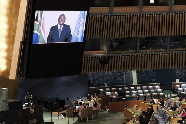 President of South Africa Cyril Ramaphosa speaks via video link during the 76th Session of the U.N. General Assembly at United Nations headquarters in New York, on Thursday, Sept. 23, 2021. (Spencer Platt/Pool Photo via AP)