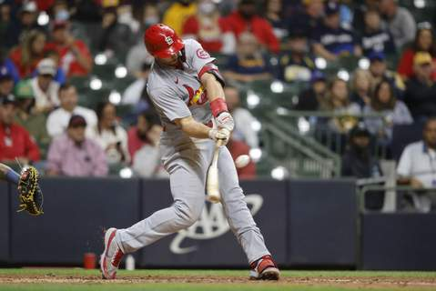 Cardinals Brewers Baseball St. Louis Cardinals first baseman Paul Goldschmidt hits a two-run home run against the Milwaukee Brewers during the eighth inning of a baseball game Wednesday, Sept. 22, 2021, in Milwaukee. (AP Photo/Jeffrey Phelps) (Jeffrey PhelpsFRE)