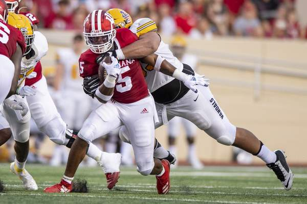 Indiana running back Stephen Carr (5) during an NCAA college football game, Saturday, Sept. 11, 2021, in Bloomington, Ind. (AP Photo/Doug McSchooler)