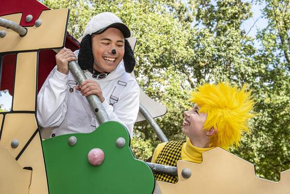 """Courtesy From left, Ian Capuyan as Snoopy and Sarah Hobson as Woodstock star in Purdue University Fort Wayne Department of Theatre's """"The World According to Snoopy."""""""