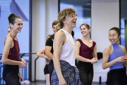 """Photos by Mike Moore   The Journal Gazette Guest choreographer Cynthia Pratt works with dancers from Fort Wayne Ballet during rehearsal for """"Diversions 21,"""" which opens Thursday night at ArtsLab in the Auer Center for Arts and Culture."""