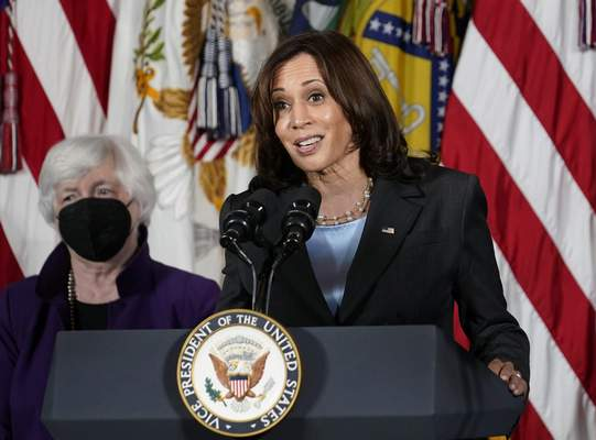 FILE - Vice President Kamala Harris, right, speaks as Treasury Secretary Janet Yellen listens during an event at the Treasury Department in Washington on Sept. 15, 2021. Harris will appear on the daytime talk series The View on Friday. (AP Photo/Susan Walsh, File)