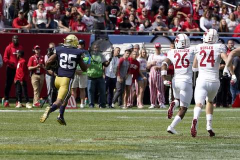 Notre Dame Wisconsin Football Notre Dame running back Chris Tyree returns a kickoff for a touchdown as Wisconsin safety Travian Blaylock and Hunter Wohler pursue during the second half of an NCAA college football game Saturday, Sept. 25, 2021, in Chicago. Notre Dame won 41-13. (AP Photo/Charles Rex Arbogast) (Charles Rex Arbogast STF)