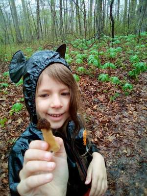 Brooklyn Schuman, 5, found her first morel mushroom in a woods in Whitley County. She is thegranddaughter ofDebra Wolfe.