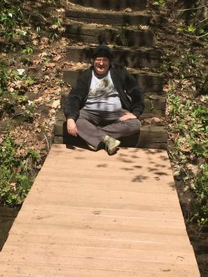 Courtesy photos David Sowards and others helped to repair this footbridge at Camp Tippecanoe during their volunteer day in May. They also did some hiking near North Webster.