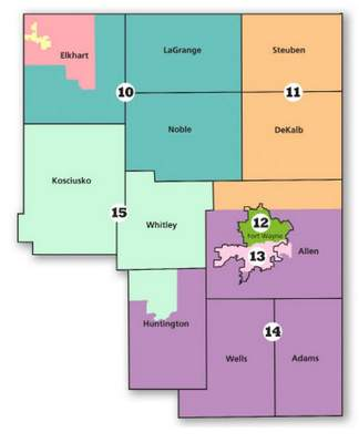 Indianapolis resident Adam Stant won the Indiana Citizens Redistricting Commission competition for the best Indiana state Senate map, a portion of which is shown. Stant's map divides the city of Fort Wayne primarily between two districts.
