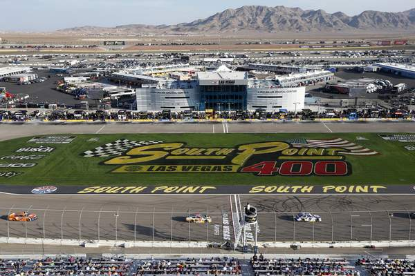 Drivers compete at Las Vegas Motor Speedway during a NASCAR Cup Series auto race Sunday, Sept. 26, 2021, in Las Vegas. (AP Photo/Steve Marcus)
