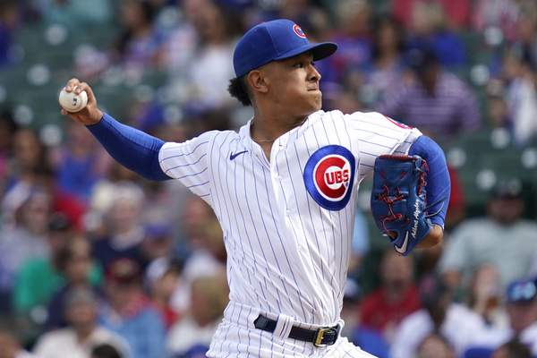 Chicago Cubs relief pitcher Adbert Alzolay throws against the St. Louis Cardinals during the sixth inning of a baseball game in Chicago, Sunday, Sept. 26, 2021. (AP Photo/Nam Y. Huh)