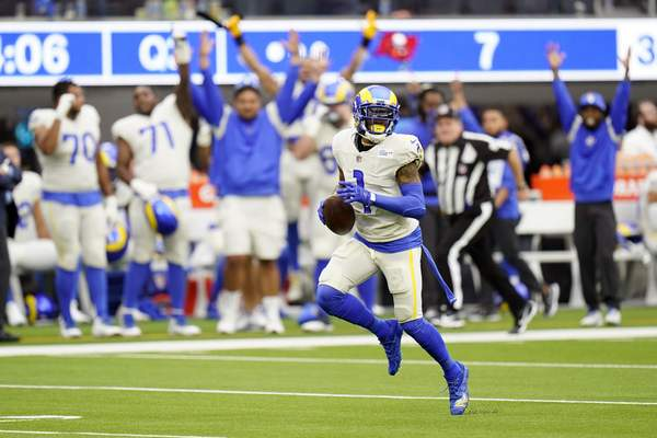Los Angeles Rams wide receiver DeSean Jackson (1) runs for a touchdown during the second half of an NFL football game against the Tampa Bay Buccaneers Sunday, Sept. 26, 2021, in Inglewood, Calif. (AP Photo/Jae C. Hong)
