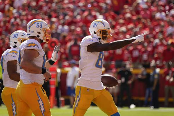 Associated Press Chargers receiver Mike Williamsfinished with seven catches for 122 yards and two TDs, including the game-winner in a 30-24 victory over the Chiefs.