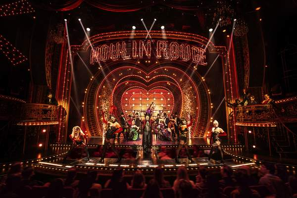This image released by Boneau/Bryan-Brown shows the cast in Moulin Rouge! The Musical. (Matthew Murphy/Boneau/Bryan-Brown via AP)