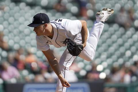 White Sox Tigers Baseball Detroit Tigers pitcher Matt Manning throws against the Chicago White Sox in the first inning of a baseball game in Detroit, Monday, Sept. 27, 2021. (AP Photo/Paul Sancya) (Paul Sancya STF)