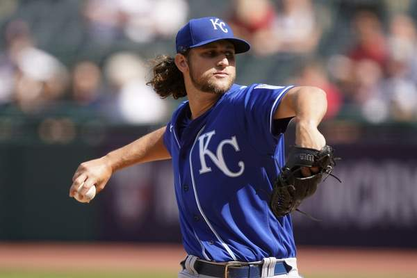 Kansas City Royals starting pitcher Jackson Kowar delivers in the first inning of a baseball game against the Cleveland Indians, Monday, Sept. 27, 2021, in Cleveland. (AP Photo/Tony Dejak)