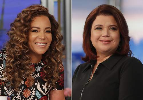 TV-The View-Harris This combination of photos shows co-hosts Sunny Hostin, left, and Ana Navarro on the set of
