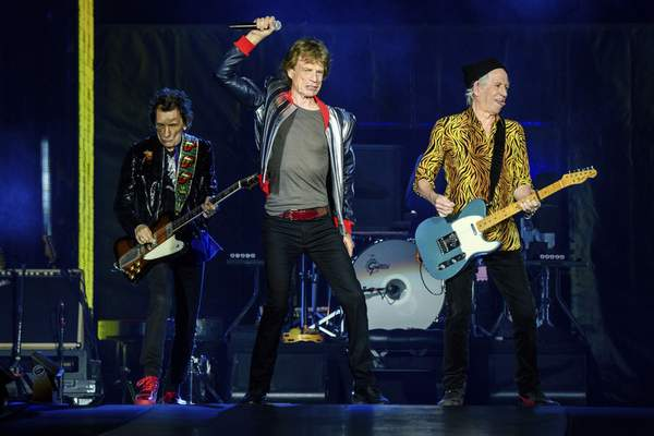 Ronnie Wood, from left, Mick Jagger and Keith Richards of the Rolling Stones perform during the No Filter tour at The Dome at America's Center, Sunday, Sept. 26, 2021, in St. Louis. (Photo by Amy Harris/Invision/AP)