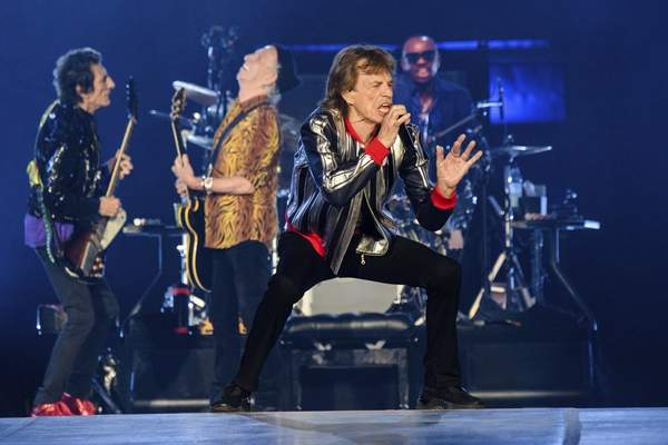 Ronnie Wood, from left, Keith Richards, Mick Jagger and Steve Jordan of the Rolling Stones perform during the No Filter tour at The Dome at America's Center, Sunday, Sept. 26, 2021, in St. Louis. (Photo by Amy Harris/Invision/AP)