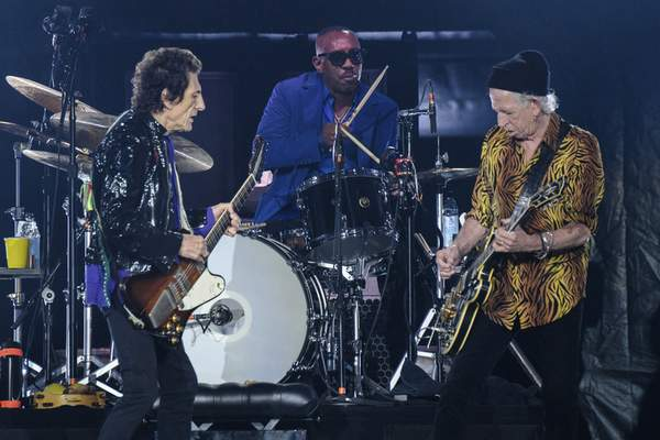 Ronnie Wood, from left, Steve Jordan and Keith Richards of the Rolling Stones perform during the No Filter tour at The Dome at America's Center, Sunday, Sept. 26, 2021, in St. Louis. (Photo by Amy Harris/Invision/AP)