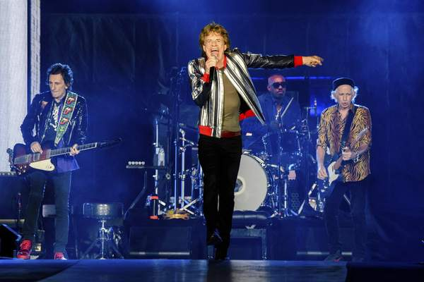 Ronnie Wood, from left, Mick Jagger, Steve Jordan and Keith Richards of the Rolling Stones perform during the No Filter tour at The Dome at America's Center, Sunday, Sept. 26, 2021, in St. Louis. (Photo by Amy Harris/Invision/AP)