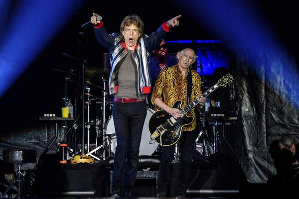 Mick Jagger, from left, Steve Jordan and Keith Richards of the Rolling Stones perform during the No Filter tour at The Dome at America's Center, Sunday, Sept. 26, 2021, in St. Louis. (Photo by Amy Harris/Invision/AP)