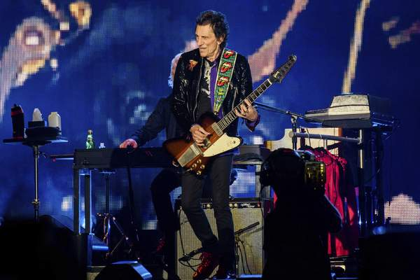 Ronnie Wood of the Rolling Stones performs during the No Filter tour at The Dome at America's Center, Sunday, Sept. 26, 2021, in St. Louis. (Photo by Amy Harris/Invision/AP)