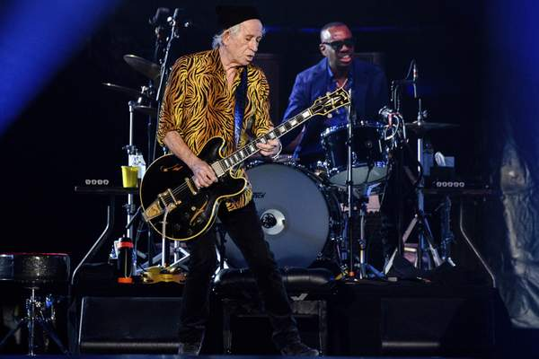 Ronnie Wood, left, and Steve Jordan of the Rolling Stones perform during the No Filter tour at The Dome at America's Center, Sunday, Sept. 26, 2021, in St. Louis. (Photo by Amy Harris/Invision/AP)