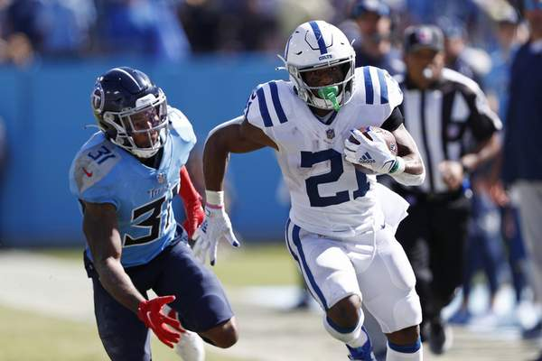 Associated Press Indianapolis running back Nyheim Hines scored the Colts' only touchdown Sunday against the Tennessee Titans.