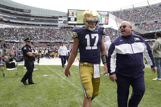 Notre Dame Wisconsin Football Associated Press Notre Dame quarterback Jack Coan heads to the locker room after an ankle injury Saturday. (Charles Rex ArbogastSTF)