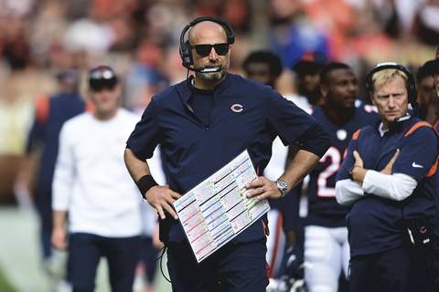 Bears Browns Football Associated Press Chicago coach Matt Nagy said he does not know who his quarterback will be against the Detroit Lions. (David DermerFRE)
