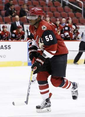 Associated Press  Jalen Smereck plays for the Arizona Coyotes in a 2016 prospects game at Glendale, Arizona, before he became a member of the Komets.