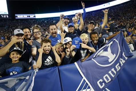 South Florida BYU Football BYU fans cheer in the second half of an NCAA college football game against South Florida Saturday, Sept. 25, 2021, in Provo, Utah. (AP Photo/George Frey) (George Frey FRE)
