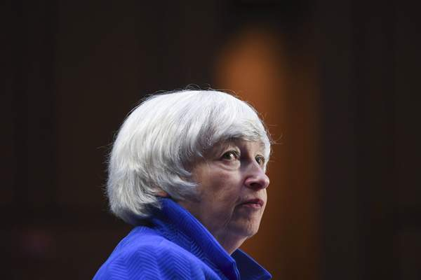 Treasury Secretary Janet Yellen appears before a Senate Banking, Housing and Urban Affairs Committee hearing on the CARES Act on Capitol Hill, Tuesday, Sept. 28, 2021 in Washington. (Matt McClain/The Washington Post via AP, Pool)