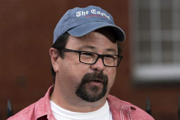 Capital Gazette photographer Paul Gillespie speaks during a news conference following the sentencing verdict of Jarrod W. Ramos, Tuesday, Sept. 28, 2021, in Annapolis, Md. (AP Photo/Jose Luis Magana)