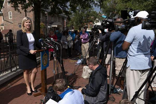 Maryland's State Attorney Anne Colt Leitess speaks during a news conference following the sentencing verdict of Jarrod W. Ramos, Tuesday, Sept. 28, 2021, in Annapolis, Md. (AP Photo/Jose Luis Magana)
