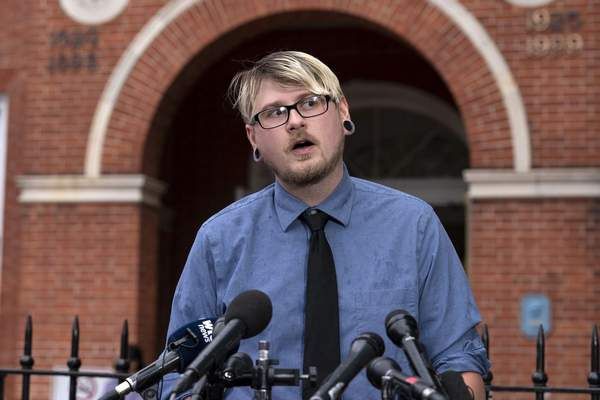 Steven Rittenour brother of Rebecca Smith who died in the Capital Gazette newsroom shooting in 2018, speaks during a news conference outside of the courthouse following the sentencing verdict of Jarrod W. Ramos, Tuesday, Sept. 28, 2021, in Annapolis, Md. (AP Photo/Jose Luis Magana)