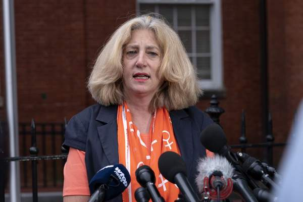 Andrea Chamblee widow of Annapolis Capital Gazette reporter John McNamara, who died in the newsroom shooting in 2018, speaks during a news conference following the sentencing verdict of Jarrod W. Ramos, Tuesday, Sept. 28, 2021, in Annapolis, Md. (AP Photo/Jose Luis Magana)