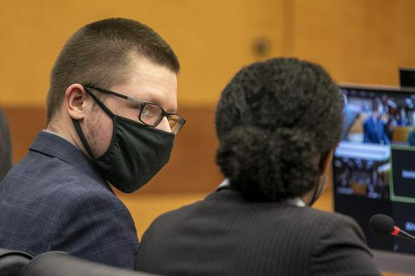 Robert Aaron Long appears in front of Fulton County Superior Court Judge Ural Glanville at the Fulton County Courthouse in downtown Atlanta, Monday, Aug. 30, 2021. (Alyssa Pointer/Atlanta Journal Constitution via AP)