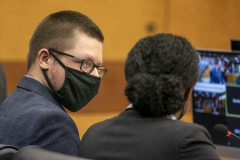 Massage-Business-Shootings Robert Aaron Long appears in front of Fulton County Superior Court Judge Ural Glanville at the Fulton County Courthouse in downtown Atlanta, Monday, Aug. 30, 2021. (Alyssa Pointer/Atlanta Journal Constitution via AP) (Alyssa Pointer MBO)