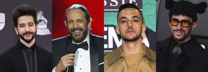 Latin Grammy-Nominations This combination of photos shows, from left, Colombian singer-songwriter Camilo, Dominican maestro Juan Luis Guerra, Spanish rapper C. Tangana and Puerto Rican rapper Bad Bunny, who received the most Latin Grammy nominations on Tuesday, Sept. 28. (AP Photo) (STF)