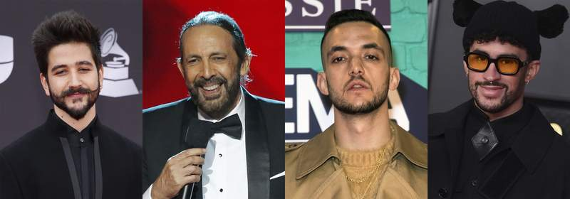 This combination of photos shows, from left, Colombian singer-songwriter Camilo, Dominican maestro Juan Luis Guerra, Spanish rapper C. Tangana and Puerto Rican rapper Bad Bunny, who received the most Latin Grammy nominations on Tuesday, Sept. 28. (AP Photo)
