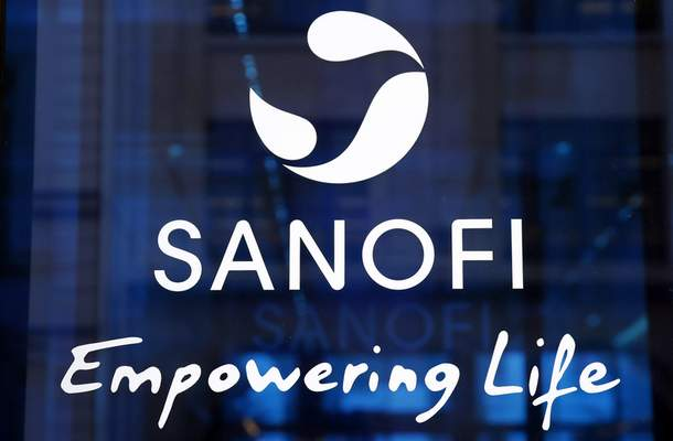 FILE - In this Feb. 7, 2019 the logo of French drug maker Sanofi is pictured at the company's headquarters, in Paris. (AP Photo/Christophe Ena, File)