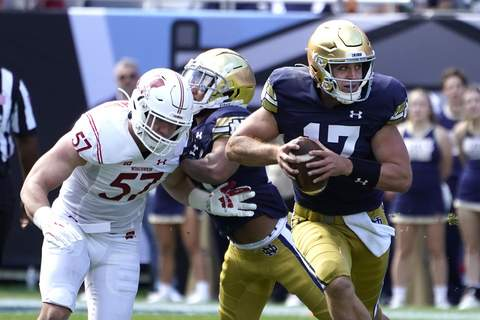 Notre Dame Wisconsin Football Notre Dame quarterback Jack Coan, right, scrambles away from pressure by Wisconsin linebacker Jack Sanborn during the first half of an NCAA college football game Saturday, Sept. 25, 2021, in Chicago. (AP Photo/Charles Rex Arbogast) (Charles Rex Arbogast STF)