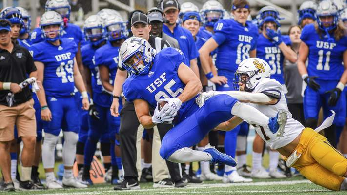 Mike Moore | The Journal Gazette University of Saint Francis wide receiver Jay Segal comes down with the ball in the second quarter against Siena Heights on Saturday.