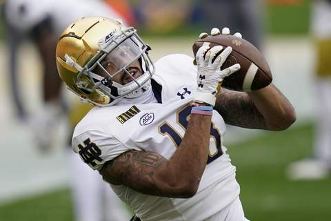 Notre Dame Pittsburgh Football Notre Dame wide receiver Joe Wilkins Jr. is out for the season with a torn MCL. (AP Photo/Keith Srakocic) (Keith Srakocic STF)