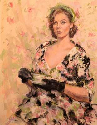 The artwork of Hilarie Couture is on exhibit at the Garrett Museum of Art. A portrait painting demo with a live subject happens tonight.