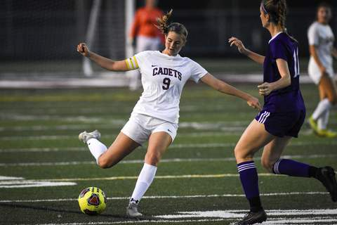 Mike Moore | The Journal Gazette Concordia forward Mataya James kicks the ball in the first half against Concordia at Zollner Stadium on Saturday.