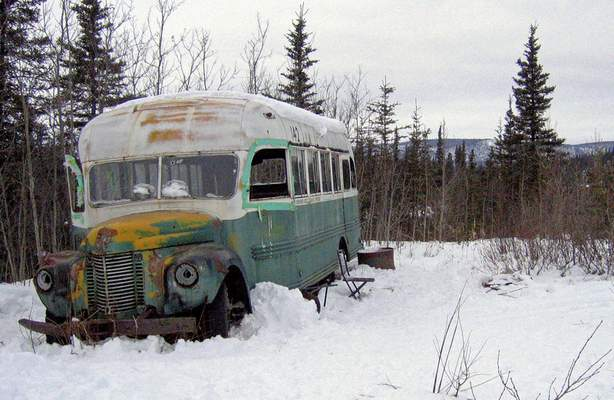 FILE - In this March 21, 2006, file photo, is the abandoned bus where Christopher McCandless starved to death in 1992 near Healy, Alaska. (AP Photo/Jillian Rogers, File )