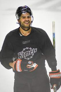 Mike Moore | The Journal Gazette Marcus McIvor attends the first practice of Komets training camp on Monday at Memorial Coliseum.