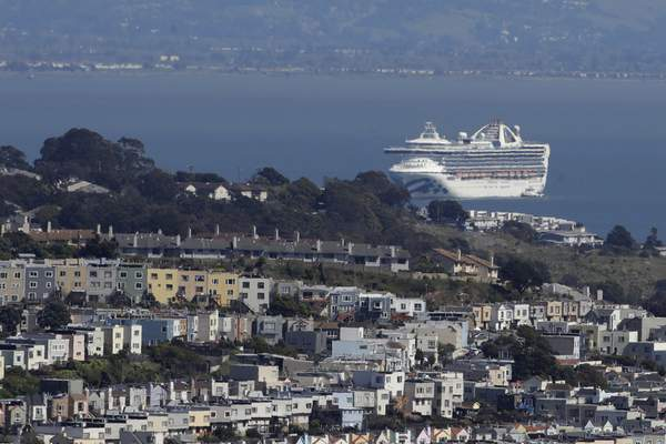 FILE - In this March 31, 2020, file photo, the Grand Princess cruise ship, carrying crew and passengers struck with the coronavirus, is shown in San Francisco. (AP Photo/Jeff Chiu, File)