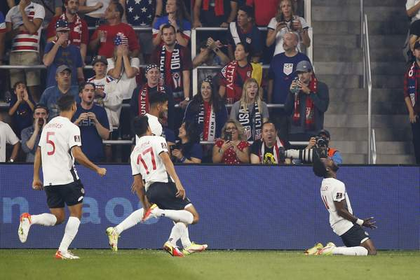 Costa Rica's Keysher Fuller, right, celebrates his goal against the United States with teammates during the first half of a World Cup qualifying soccer match Wednesday, Oct. 13, 2021, in Columbus, Ohio. (AP Photo/Jay LaPrete)